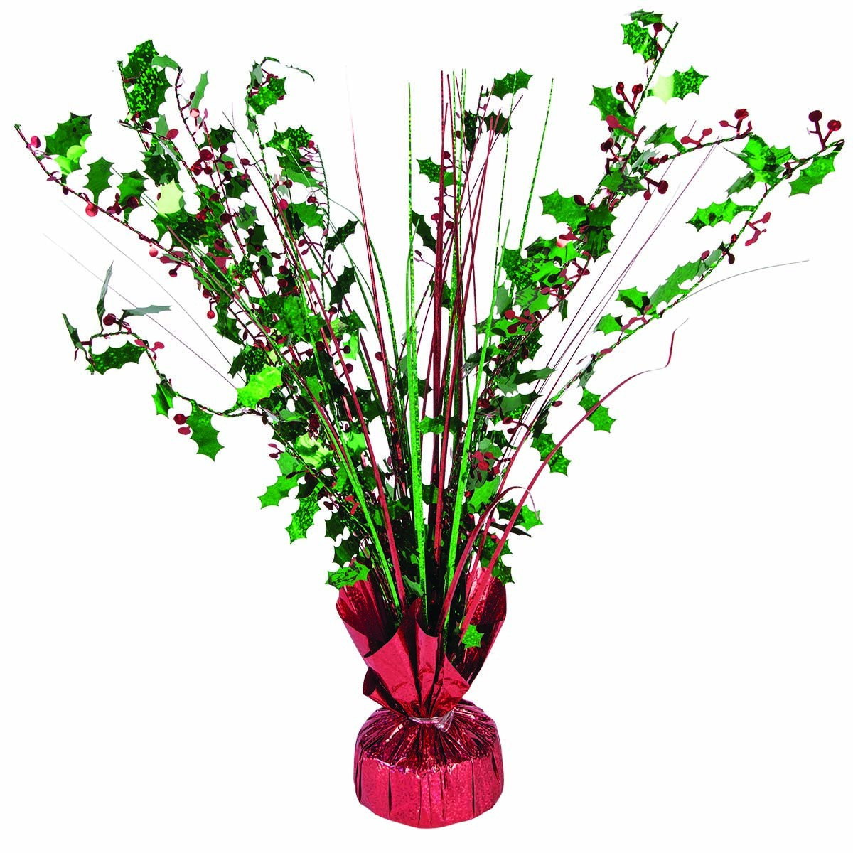 """Holly Berry Balloon Weight Centerpiece 15"""" Green & Red Holographic (1 Count) (Pkg/1)"""