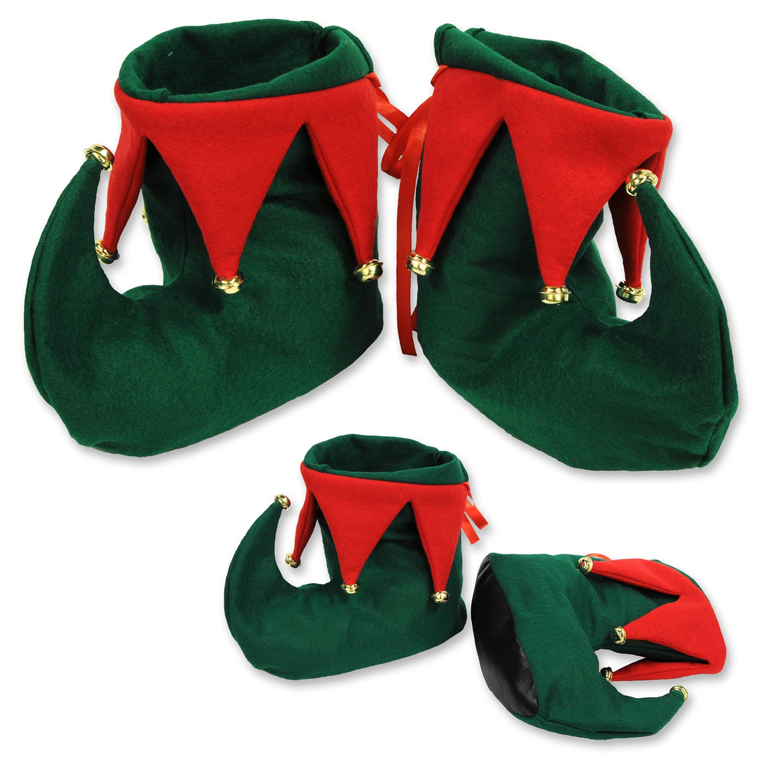 Christmas Red and Green Elf Shoes (1 Count) (Pkg/1)