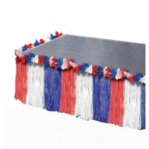 Patriotic Table Skirt Red, White and Blue (1 Count) (Pkg/1)