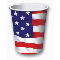 PMU Patriotic Paper Cups 9 oz. US Stars and Stripes American Flag Patterned Red, White and Blue Disposable Tableware for 4th of July Party (8 Count) (Pkg/1)