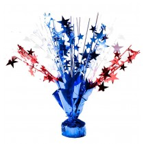 Patriotic Star Gleam 'N Burst Centerpiece 15in. Red, Silver and Blue (1 Count) (Pkg/1)