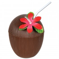 Hawaiian Luau Plastic Coconut Cup Party Accessory (16oz)