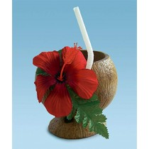 Coconut Cup (Flower & Straw Included) Party Accessory (1/pkg) Pkg/1