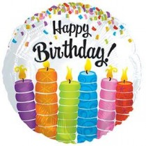 Happy Birthday Colorful Candles Balloon (17in Mylar) (1 Count) (Pkg/1)