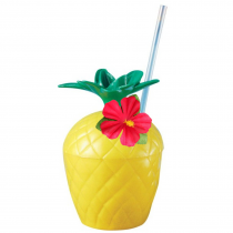 PMU Hawaii Party Plastic Pineapple Drink Luau Cup with Hibiscus Flower and Straw Assorted Colors (1 Count) (Pkg/1)