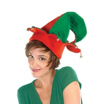 Felt Elf Hat with Jingle Bells (1 Count) (Pkg/1)