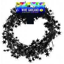 Star Wire Garland 25 ft Tinsel  (Black)
