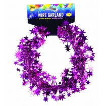 Star Wire Garland 25 ft Tinsel (Hot Pink)