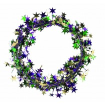Star Wire Garland 25 ft Tinsel (Gold, Green and Purple)