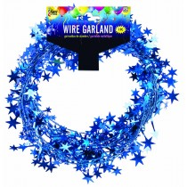 Star Wire Garland 25 ft Tinsel (Royal Blue)