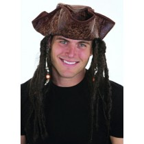 Adult Distressed Brown Pirate Tricorn Hat w/ Beaded Dreadlocks Party Accessory (1 Count) (Pkg/1)