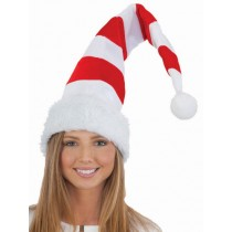 Christmas Light-Up Striped Plush Santa Hat (1 Count) (Pkg/1)
