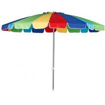 Beach Umbrella 8ft Polyester (Bright Multicolored) (1 Count) (Pkg/1)