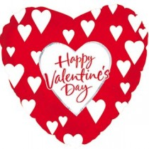 Happy Valentine's Day Heart Mylar Balloon (Red/White Hearts)