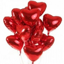 Valentine's Day Heart Shaped Mylar Balloons (18 Inches, Metallic Red)