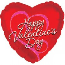 Happy Valentine's Day Heart Mylar Balloon (Red/Purple Ribbon)