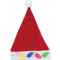 Christmas Light Up Santa Hat with Jumbo Retro Bulbs, XL (1 Count) (Pkg/1)