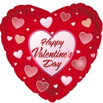 Happy Valentine's Day Heart Mylar Balloon (Red/Dots Hearts)