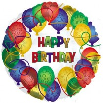 Happy Birthday Patterned Balloons (17in Mylar) (1 Count) (Pkg/1)