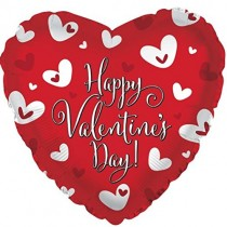 Happy Valentine's Day Heart Mylar Balloon (Red/White)