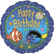 Happy Birthday Big Fish Balloon (18 Inch Mylar)  (Pkg/1)