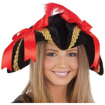 PMU Black Velvet Ladies Pirate Hat with Gold Trim, Red Bows and Feather (1 Count) Pkg/1