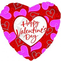 Happy Valentine's Day Heart Mylar Balloon (Red/Purple Hearts)