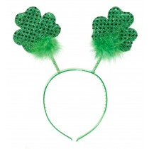 St. Partick's Day Glittered Shamrock Boppers Party Headband (1 Count) (Pkg/1)