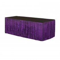Metallic Fringe Table Skirt 9ft x 29in (Purple)