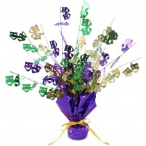 PMU Mardi Gras Balloon Centerpiece 15 Inch Green, Purple and Gold Metallic (1 Count) (Pkg/1)