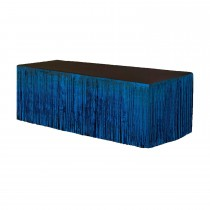 Metallic Fringe Table Skirt 9ft x 29in (Blue)