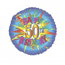 Happy 50th Birthday Burst Balloon (18 Inch Mylar) (Pkg/1)
