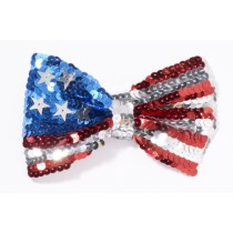 Patriotic Bow Tie Sequin Red, White and Blue American Flag Costume Accessory (1 Count) (Pkg/1)
