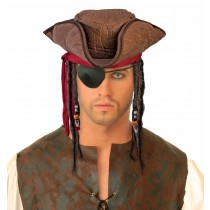 Caribbean Pirate Hat with Dreads Party Accessory (1 Count) (Pkg/1)