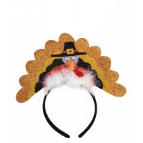 Thanksgiving Pilgrim Turkey Headband with Marabou (1 Count) (Pkg/1)