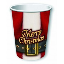 Merry Christmas Santa Belt Paper Cups 9oz (8 Count) (Pkg/1)