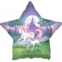 Unicorn Fantasy Star Shape 17in Mylar Balloon (1 Count) (Pkg/1)