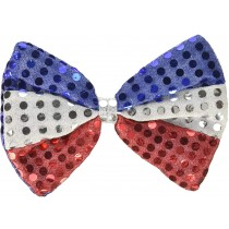 PMU Patriotic Bow Tie Sequin Red, White and Blue Pre-Tied 4th of July Party Costume Accessory (1 Count) (Pkg/1)