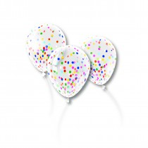Confetti Balloons 12 Inch Clear Latex Balloons with Multicolor Confetti
