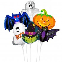 PMU Halloween Balloons Assortment 11 Inch Pre-Inflated with Sticks (6 Count) (Pkg/1)