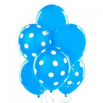 Polka Dot Balloons 11in Premium Baby Blue and Blue with All-Over print white Dots