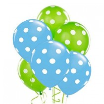Polka Dot Balloons 11in Premium Baby Blue and Lime Green with All-Over print white Dots