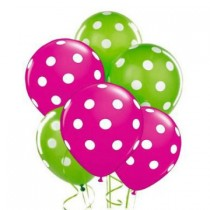 Polka Dot Balloons 11in Premium Berry - Hot Pink and Lime Green with All-Over print white Dots