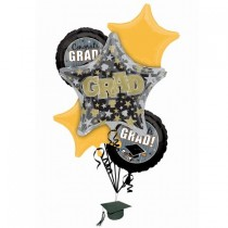 "Graduation ""Best Grad"" Black, Silver and Gold Foil Balloon Bouquet"
