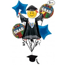 Bright Grad Congratulations 6pc Balloon Pack Royal Blue - Party Decorations
