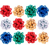 Decorative Confetti Gift Bows, Assorted Colors (Emerald Green, Royal Blue, Red, Metallic Gold, and Metallic Silver) (Pkg/1)