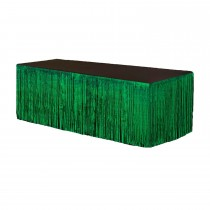 Metallic Fringe Table Skirt 9ft x 29in (Green)
