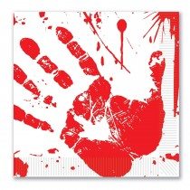 Halloween Bloody Handprints Luncheon Napkins
