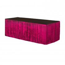Metallic Fringe Table Skirt 9ft x 29in (Hot Pink)