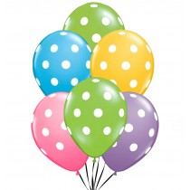 "Polka Dot Balloons PartyTex 11"" Premium Assortment with All-Over Print White Dots"